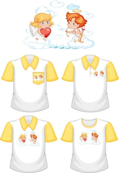 Little cupids cartoon character with set of different shirts isolated on white background