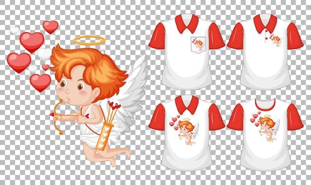 투명 한 배경에 고립 된 다른 셔츠의 세트로 작은 큐피드 만화 캐릭터