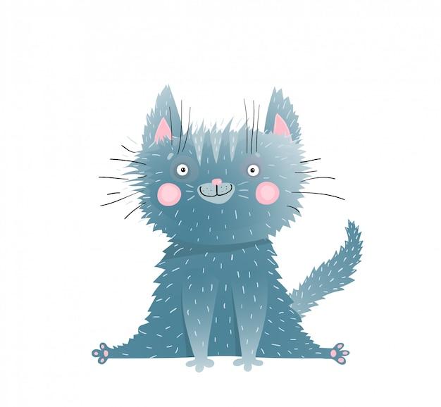 小さなかわいい愛らしい子猫座って水彩漫画
