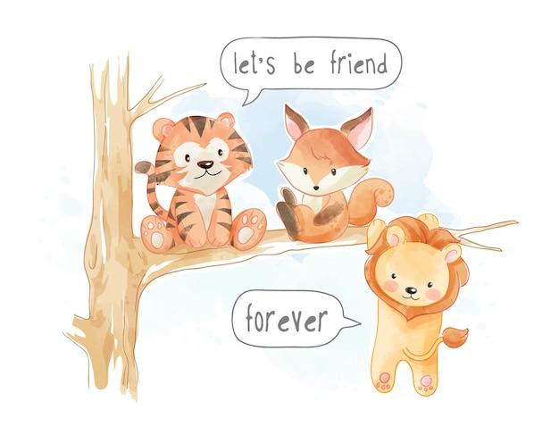 木の枝のイラストに小さなかわいい動物の友達