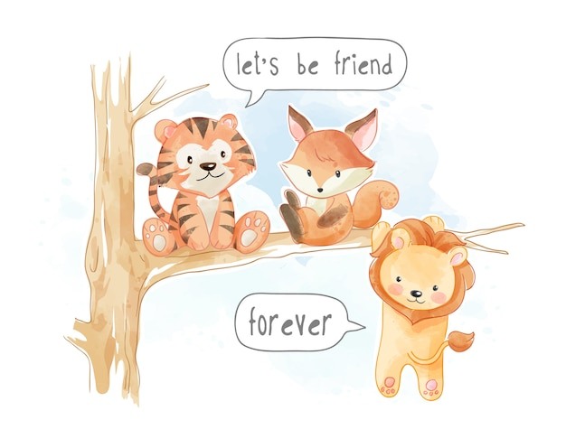 Little cute animal friends on tree branch illustration
