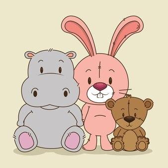 Little cute animals group