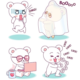 Little cute bear in different expressions and activities