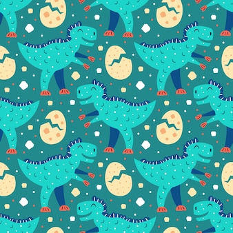 little cute blue t rex. little cute yellow dino eggs. prehistoric animals pattern