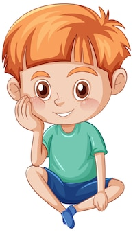 Little cute boy cartoon character on white background