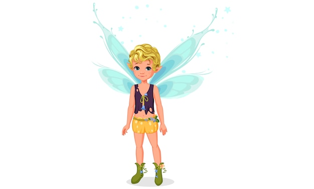 Little cute boy fairy standing