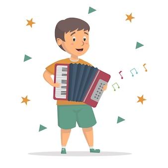 Little cute boy fun to playing accordion illustration