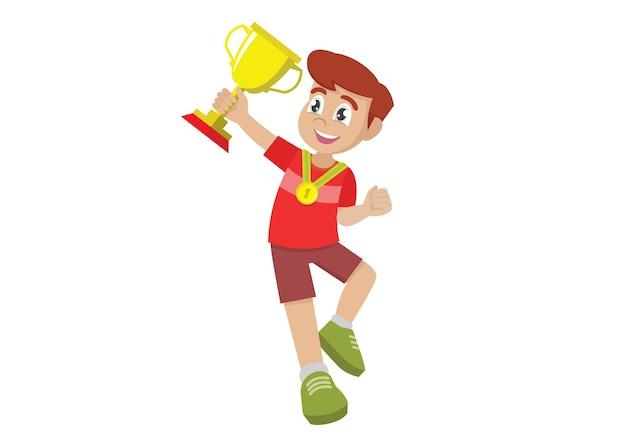 小さなかわいい男の子がジャンプし、彼の手で金色のカップを喜ぶ