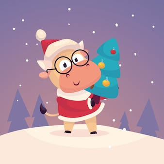 Little cute bull dressed as santa claus hang a christmas tree