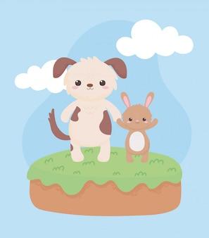 자연 경관 디자인 벡터 일러스트 레이 션에 작은 귀여운 강아지와 토끼 만화 동물