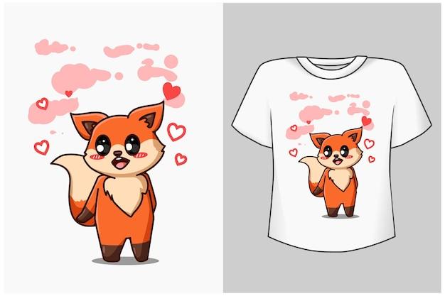Little cute and funny fox animal cartoon illustration