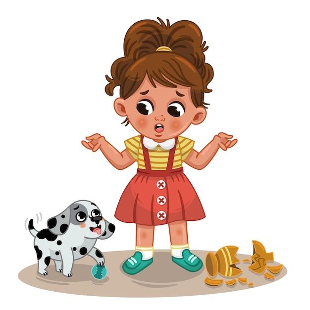 小さなかわいい女の子と彼女のいたずら犬ベクトルイラスト
