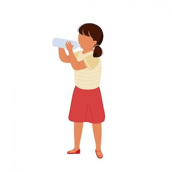 Маленькая милая девушка питьевой воды из бутылки. плоский мультфильм современный модный стиль