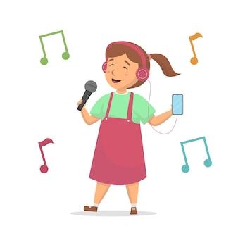 Маленькая милая девушка счастлива петь и слушать музыку с иллюстрацией наушников