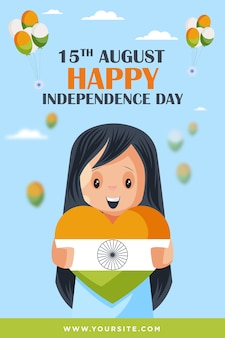 Little cute girl holding indian flag heart wishing happy independence day  poster template