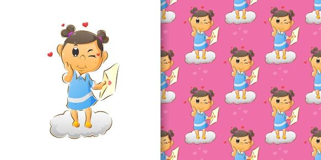 Маленькая милая девочка держит любовное письмо на руках в наборе шаблонов