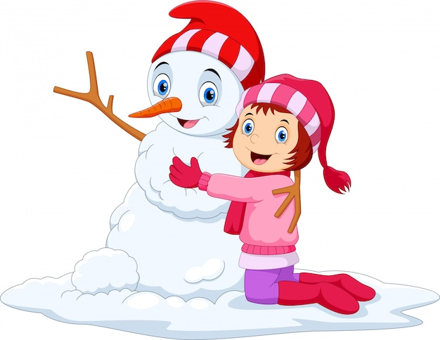 Little cute girl loving the snowman
