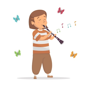 Little cute girl playing clarinet with melody tone illustration