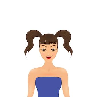 青いドレスでおさげの小さなかわいい女の子