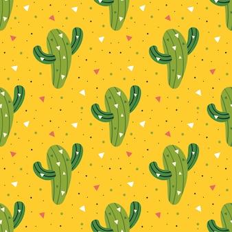 Маленький милый зеленый кактус бесшовный фон