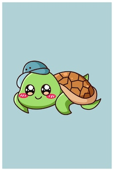 A little cute and happy baby turtle animal cartoon illustration