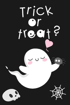 Little cute kawaii ghost halloween spirit with spider playful funny scary spooky monster