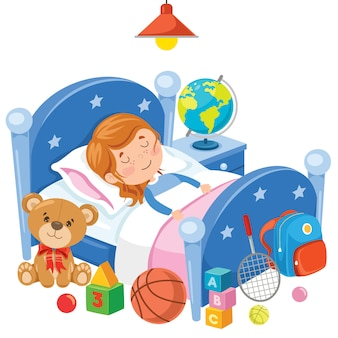 Маленький милый ребенок спит в постели