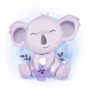 Little cute koala feel happy