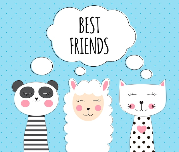 Маленькая милая лама, панда и кошка для дизайна открытки и рубашки. концепция лучшего друга.