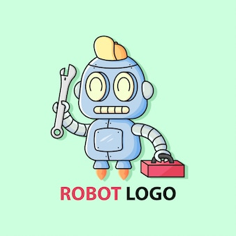Little cute mechanic robot bring a wrench and red toolkit box. mascot logo.