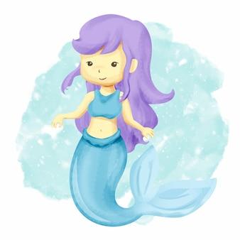 Little cute mermaid girl swim on ocean