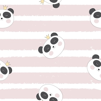 Little cute pamda princess seamless pattern background