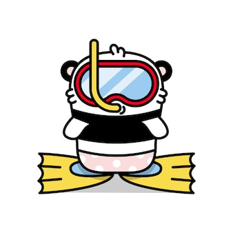 Little cute panda diver in mask illustration