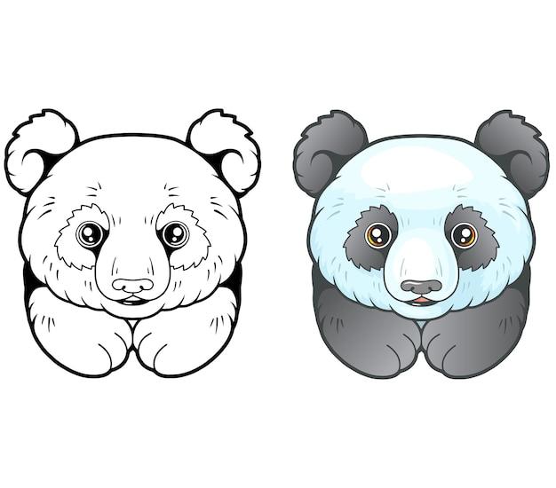 Маленькая милая панда на белом
