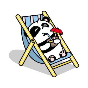 Little cute panda lies in the gamma illustration