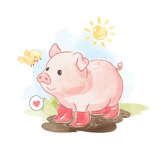 Little cute pig in boots with little bird