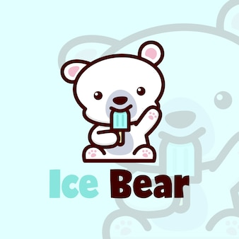 Little cute polar bear eating ice cream logo vector