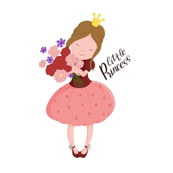 花の花束と金色のキャロンの小さな、かわいい王女。 「リトルプリンセス」のレタリング。洋服、食器、テキスタイルのプリント。ベクターイラストeps10。