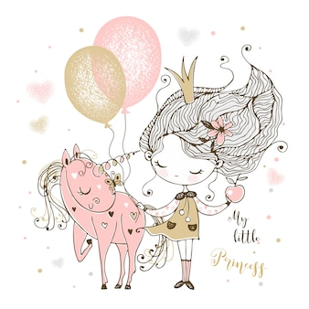 A little cute princess with a unicorn and balloons.