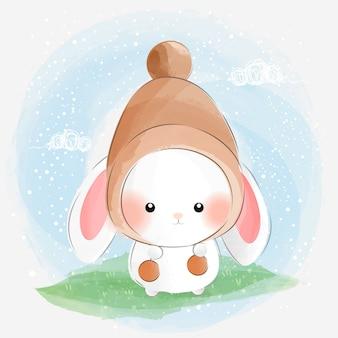 Little cute rabbit wearing hat