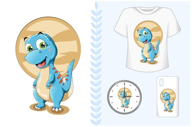 Маленький милый маленький голубой динозавр брендинг набор Premium векторы