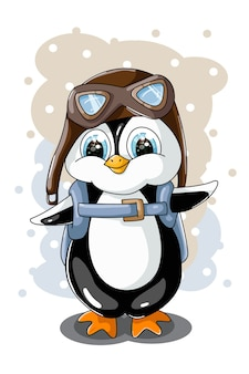 A little cute small penguin wearing glasses and wearing a backpack