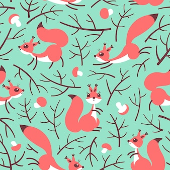 Little cute squirrels in the fall forest. seamless autumn pattern