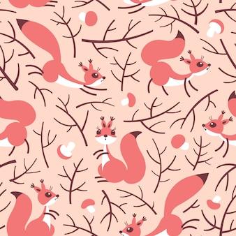 Маленькие милые белки в лесу осенью. бесшовный осенний образец для подарочной упаковки, обоев, детской комнаты или одежды.