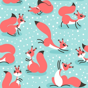 Little cute squirrels under snowfall. seamless winter pattern for gift wrapping, wallpaper