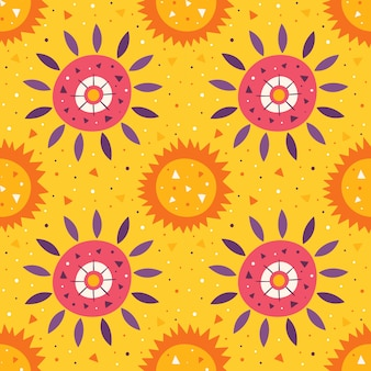 Little cute sun and flower. summer holidays. wildlife, nature. mexico element, desert. hot bright sunny weather. flat colourful   seamless pattern