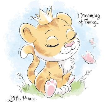 작고 귀여운 호랑이가 꿈을 꾸고 있습니다. 삽화의 시리즈 꿈의 존재. 옷을 위한 현대적인 스타일의 패션 일러스트레이션.