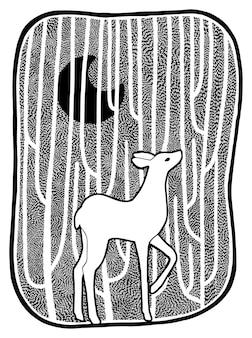 숲 속의 작은 사슴, 아늑한 밤. 귀여운 그래픽 드로잉 흰색 절연입니다. 손으로 그린 벡터 일러스트 레이 션. 디자인 요소입니다. 레트로 조각 스타일입니다.