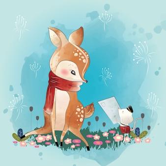 작은 사슴이 편지를 받는다