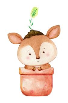 頭に植物が植木鉢に座っている小さな鹿。孤立した水彩イラスト。手描き